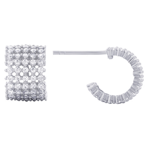 Cubic Zirconia C-Hoop Earrings