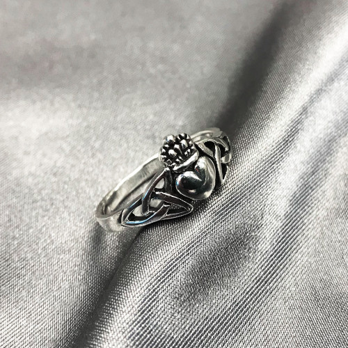 925 Sterling Silver Irish Claddagh Heart Celtic Knot Promise Ring #LWRS043