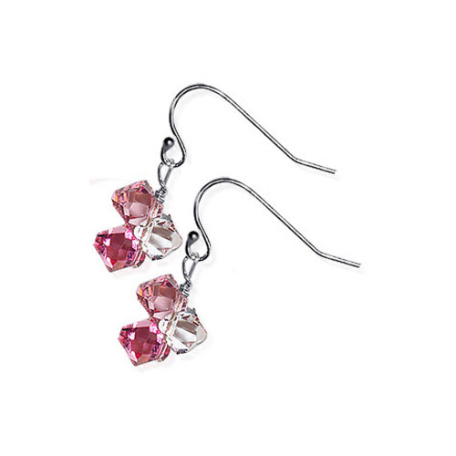 925 Sterling Silver Pink and Clear Crystal Handmade Drop Earrings