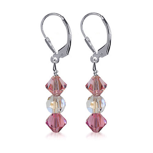 Sterling Silver Swarovski Elements Clear and Pink Crystal Handmade Drop Earrings