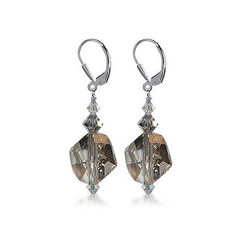 Brown Crystal Drop Earrings 925 Sterling Silver Made with Swarovski Elements
