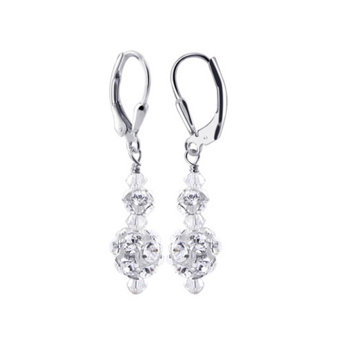925 Silver Clear Crystal CZ Accented Drop Earrings