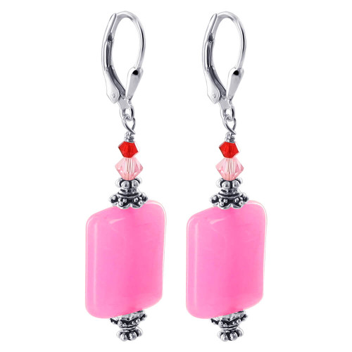 925 Silver Pink Glass Bead Bicone Crystal 1.3 inch Earrings