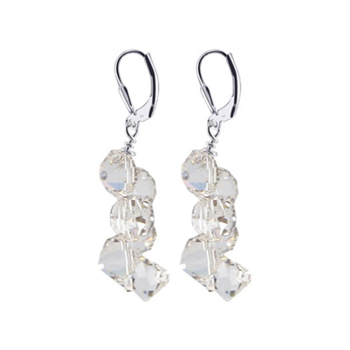 925 Silver Crystal 1.5 inch Handmade Drop Earrings