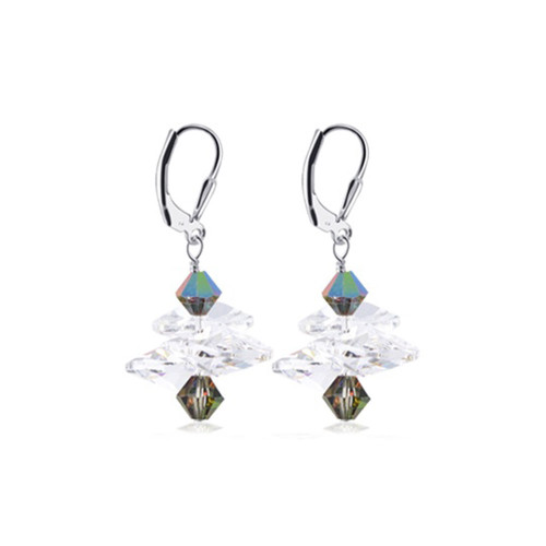 Sterling Silver Made with Swarovski Elements Clear and Light Vitrail Crystal Drop Earrings