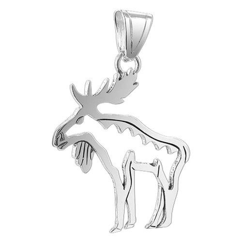 925 Sterling Silver Hollow Moose 1.7 x 1.5 inch Pendant
