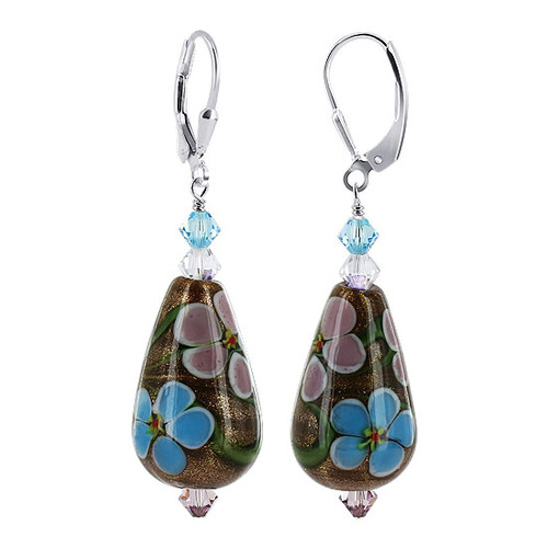 925 Silver Glass Blue and Pink Flowers Crystal Earrings