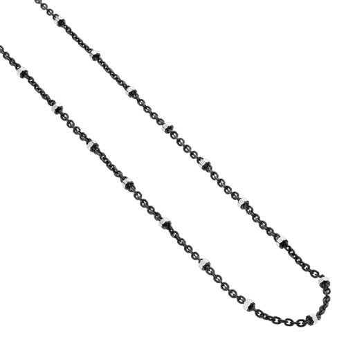 925 Silver 1mm Black Rhodium Plated Chain Necklace