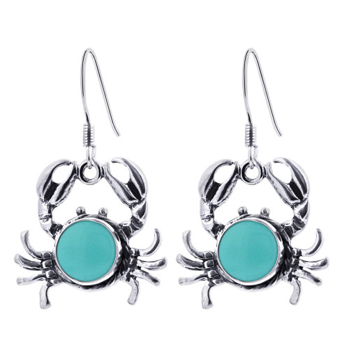 925 Sterling Silver Simulated Turquoise Drop Crab Earrings