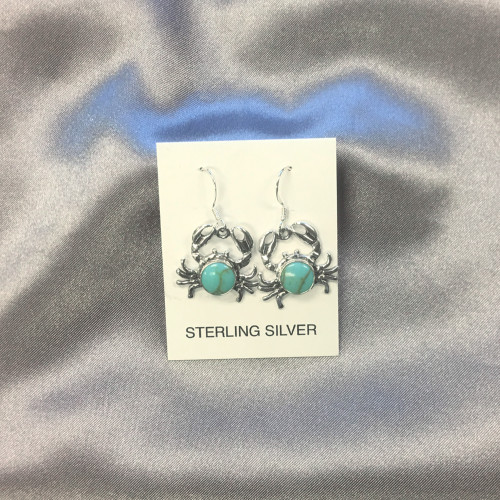 Turquoise Drop Crab Earrings
