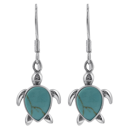 Turquoise Sea Turtle Drop Earrings