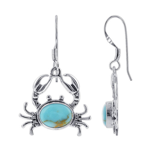 925 Sterling Silver Turquoise Sea Crab Drop Earrings