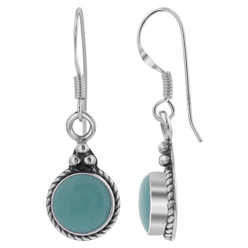 Sterling Silver 10mm Simulated Turquoise Round Bali Design Drop Earrings