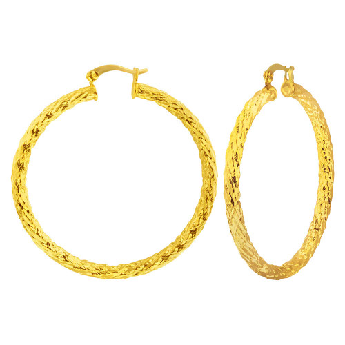 18k Gold Plated Thin Endless Hoop Earrings 51mm Diameter