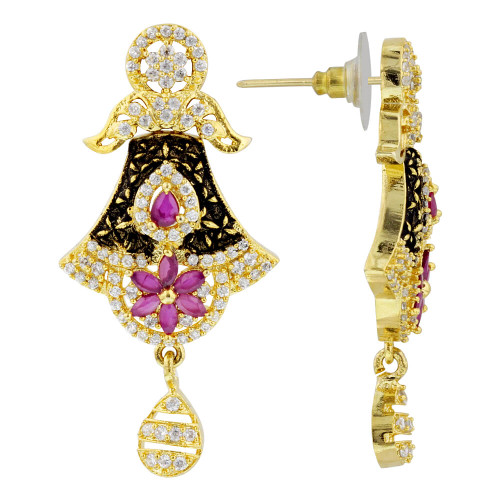 Gold Plated Ruby & CZ Flower Bollywood Indian Drop Earrings