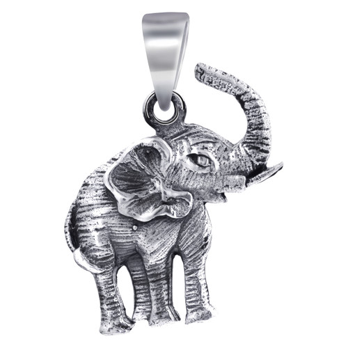 925 Sterling Silver 25mm x 17mm Tusker Elephant Pendant