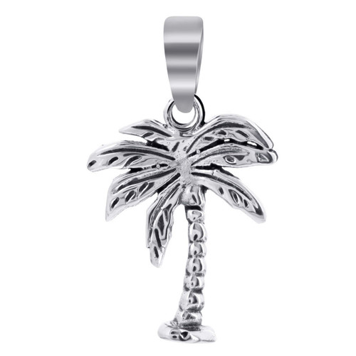 925 Sterling Silver 25mm x 15mm Palm Tree Pendant