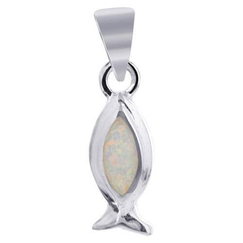 925 Silver White Opal with Fish Like Shape 8 x 20mm Pendant