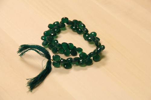 Faceted Green Onyx Pear Shape Beads for Jewelry Making