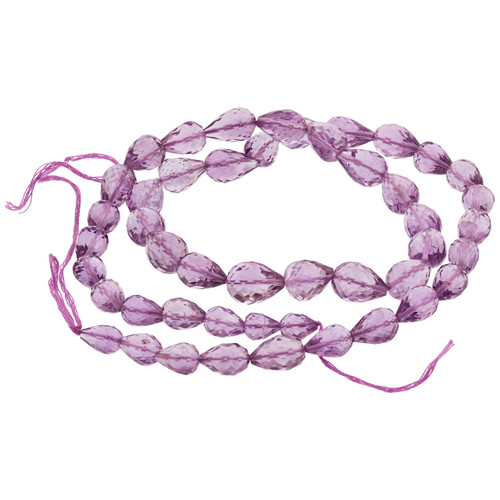 Faceted Pink Amethyst Straight Drill Drop Beads for Jewelry Making - Strand Length 17 inch