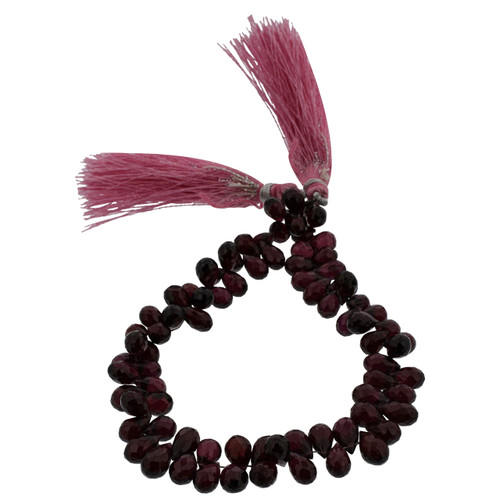 Faceted Rhodolite Teardrop Beads for Jewelry Making