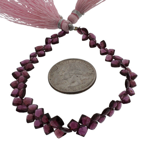 Faceted Rhodolite Cushion Beads