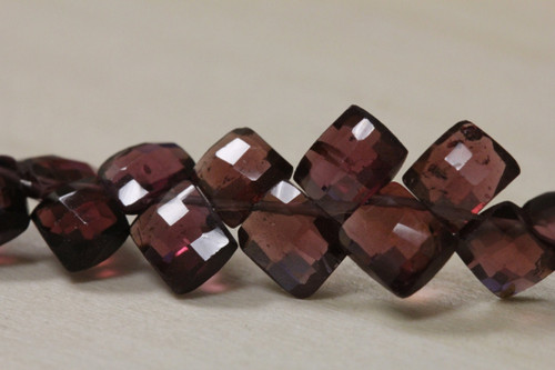 Faceted Rhodolite Cushion Beads for Jewelry Making