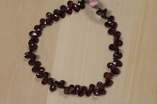Faceted Rhodolite Flat Teardrop Beads for Jewelry Making