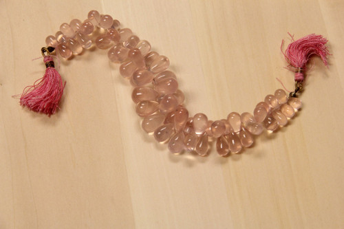 Rose Quartz Teardrop Beads for Jewelry Making