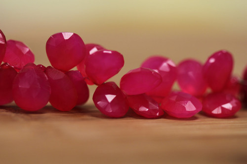 Pink Chalcedony Teardrop Shape Beads for Jewelry Making