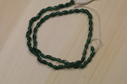 Faceted Green Aventurine Straight Drill Drop Beads