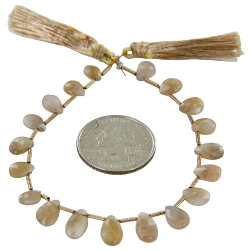 Gold Feldspar Flat Teardrop Beads