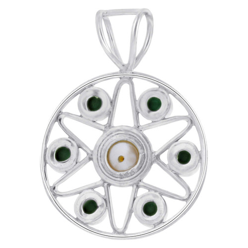 Malachite Gemstone and Fresh Water Pearl Pendant