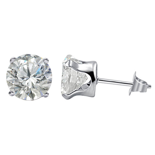 925 Sterling Silver Cubic Zirconia Post 7mm Stud Earrings