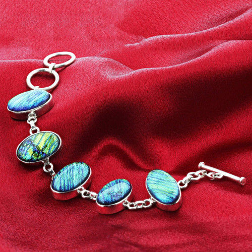 Sterling Silver Pyrite Druzy Cabochon Glass Link Bracelet 7.5 Inch with Toggle Clasp