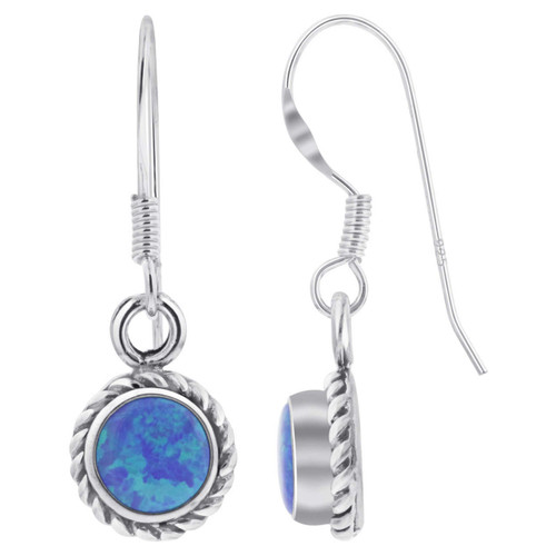 Sterling Silver Blue Opal Braided Design French Wire Drop Earrings