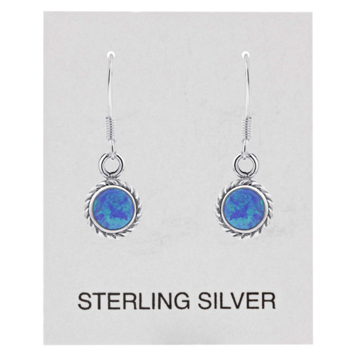 Sterling Silver 27 x 8mm Created Blue Fire Opal Braided Design French Wire Drop Earrings