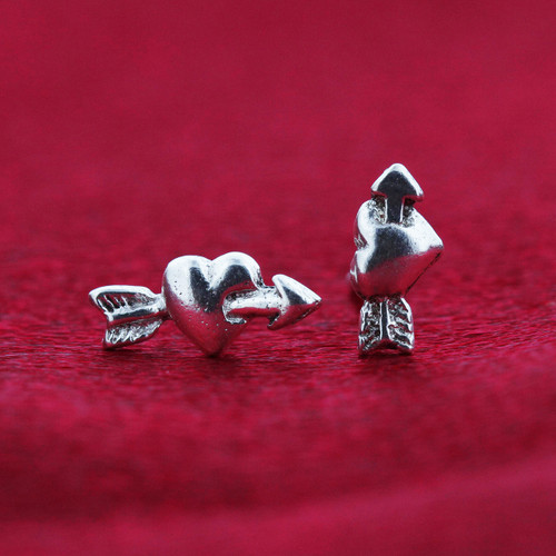 Cupid Heart and Arrow Stud Earrings