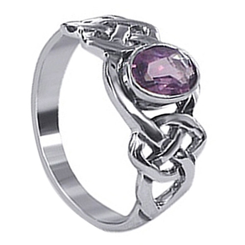 925 Sterling Silver Oval Purple CZ with Endless Celtic Knot 3mm Ring