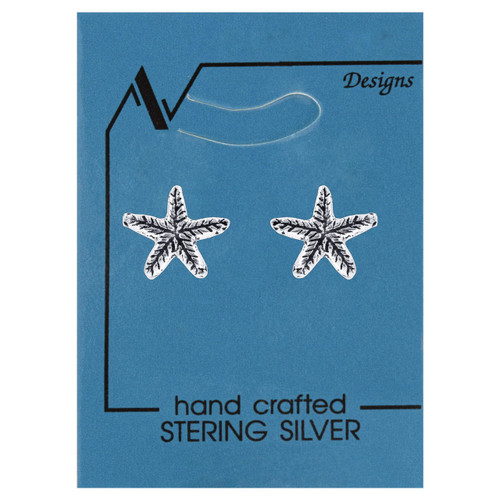 925 Silver 8mm Tiny Star Fish Post back Kids Stud Earrings