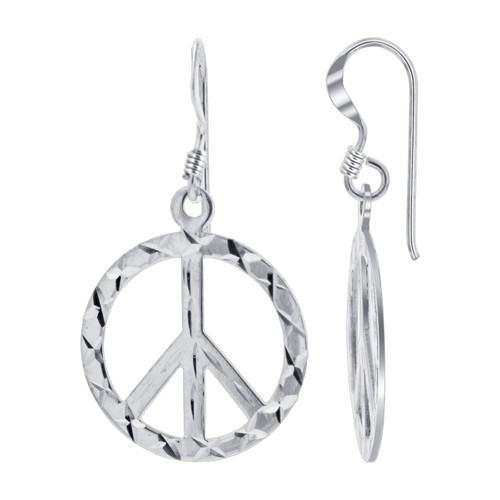 925 Sterling Silver 1.25 x 0.75 inch Diamond Cut Peace Sign French wire Drop Earrings
