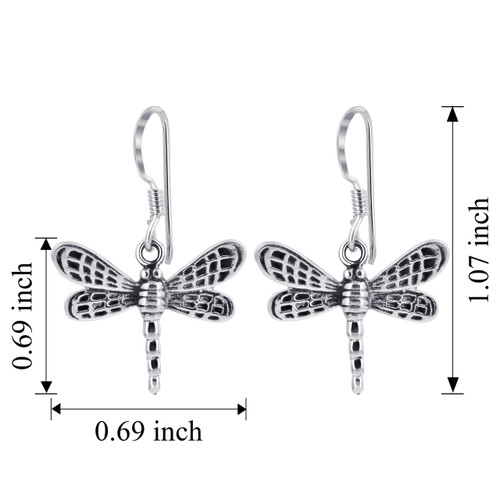 925 Sterling Silver Dragonfly French wire Drop Earrings