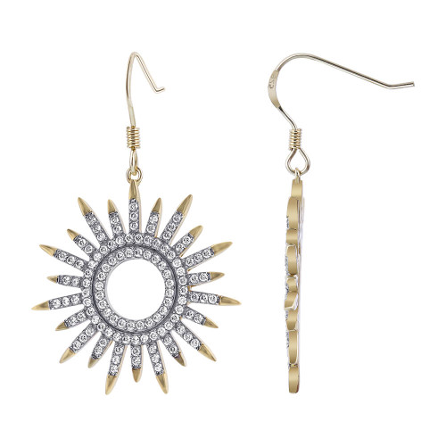 Gold over Sterling Silver Sunflower Design CZ Pave Set 1.5 inch long Vermeil Drop Earrings