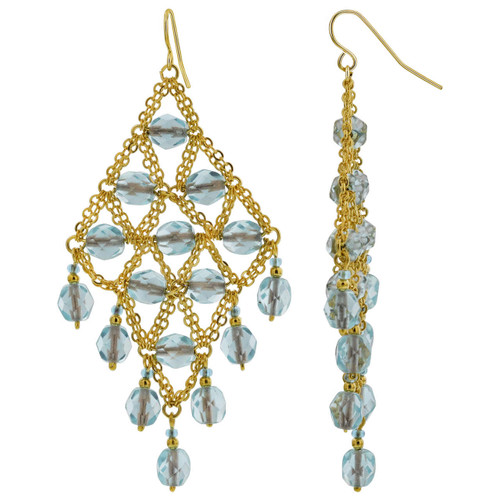 Gold Plated Brazilian Czech Seed Candy Blue Beads Hypoallergenic Chandelier Earrings