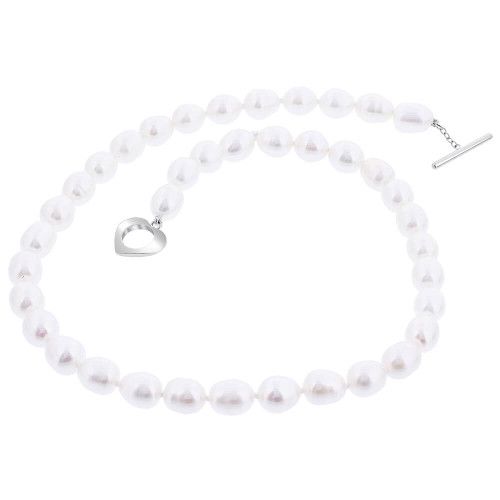 8.5mm White Fresh Water Pearl Stainless Steel Necklace with Toggle Clasp