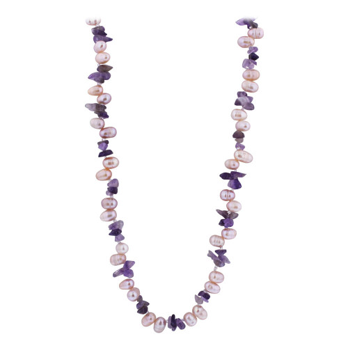 6.5mm Nugget Pearl and Amethyst Beads Stainless Steel Necklace