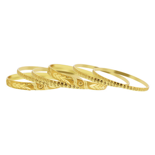 Gold Plated Carved Design Thick and Thin Bollywood Indian Bangle 7mm Bracelets Set of 6