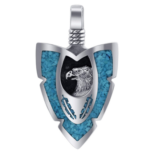 Arrowhead Eagle Turquoise Gemstone Southwestern Style 925 Sterling Silver Pendant