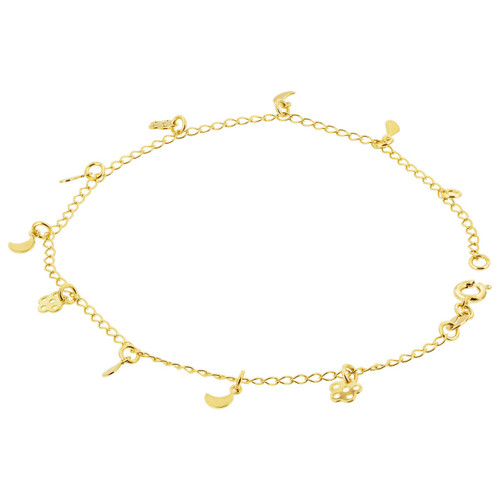 18k Gold Layered Crescent and Flower 2mm Foot Chain Anklet 9 to 10 inch for women