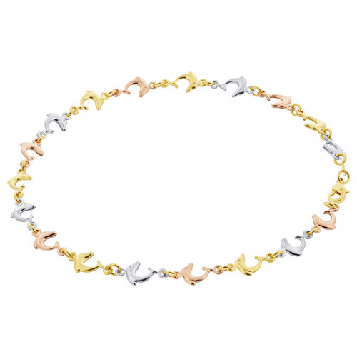 18k Three Tone Gold Layered 5mm Dolphin Beach Foot Chain Anklet for women 10 to 11 inch